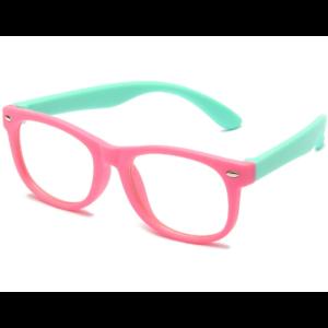 Gyerek kékfény blokkoló védőszemüveg  telefon, tablet, monitor elleni szemvédelem  pink-zöld.(Anti Blue Light)