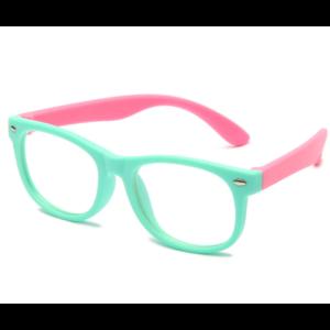 Gyerek kékfény blokkoló védőszemüveg  telefon, tablet, monitor elleni szemvédelem  zöld-pink. (Anti Blue Light)