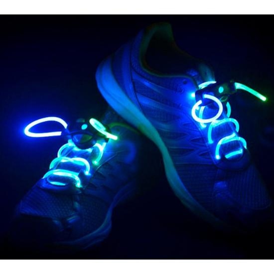 Világító cipőfűző, LED cipőfűző 1 pár Dupla színű (Kék/Zöld)