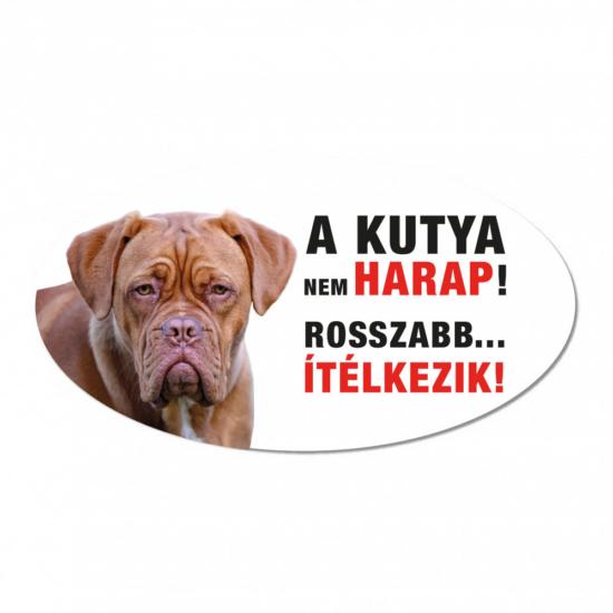 Vigyázz a kutya harap tábla műanyagból MASZTIFF