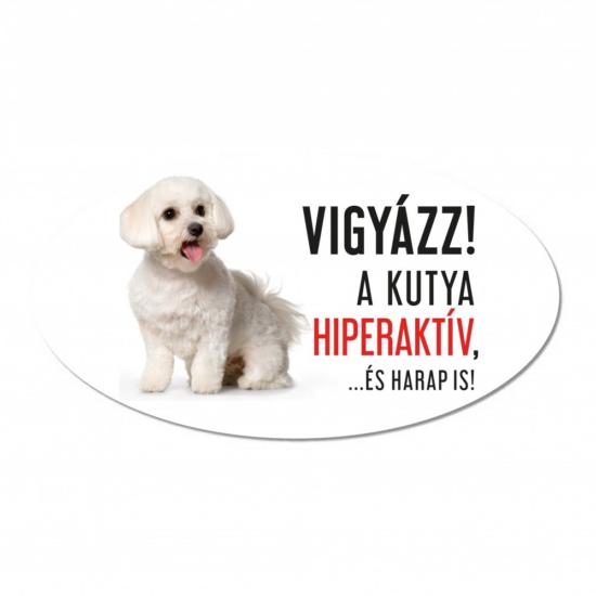Vigyázz a kutya harap tábla műanyagból BICHON HAVANESE