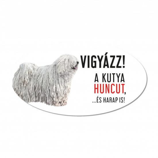 Vigyázz a kutya harap tábla műanyagból fehér PULI