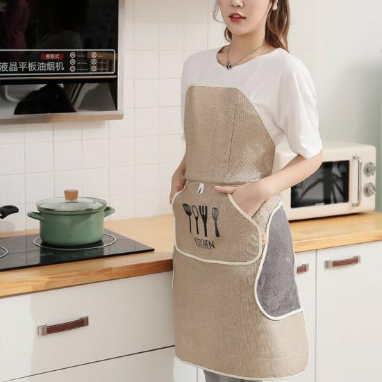 Vízálló konyhai kötény, Tépőzáras és kétoldalú zseb kialakítással kávé