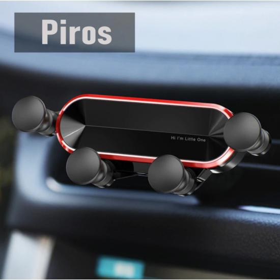 Autós telefontartó szellőzőrácsra- Gravitációs (nyújtott kialakítás) Piros