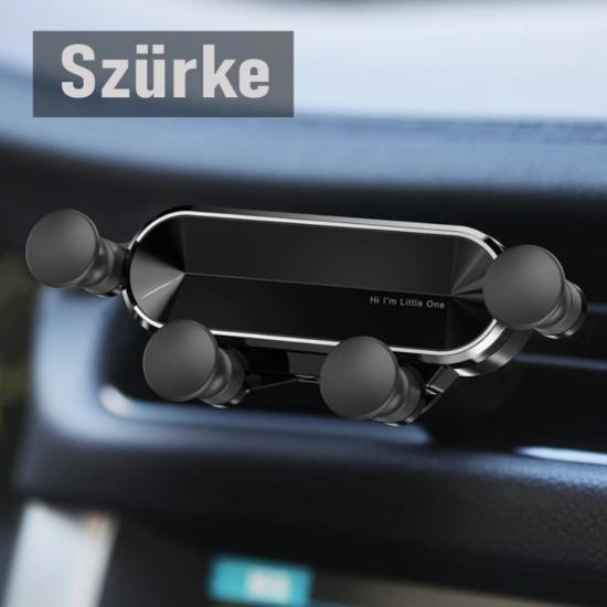 Autós telefontartó szellőzőrácsra- Gravitációs (nyújtott kialakítás) Szürke