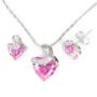 Kép 1/6 - Exclusive Swarovski kristályos szett szív alakú rózsaszin  kővel, Díszdobozban