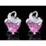 Kép 5/6 - Exclusive Swarovski kristályos szett szív alakú rózsaszin  kővel, Díszdobozban