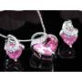 Kép 6/6 - Exclusive Swarovski kristályos szett szív alakú rózsaszin  kővel, Díszdobozban