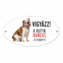 Kép 1/2 - Vigyázz a kutya harap tábla műanyagból Angol BULLDOG