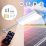 Kép 1/5 - Novion 70-es LED-es napelemes fali utcalámpa 5 világítási móddal, mozgásérzékelővel