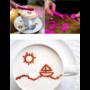 Kép 4/4 - Kávé és palacsinta díszítő kanál - 16 db dekorációs mintával